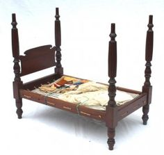"""Antique mahogany doll's 4 poster rope bed with straw mattress. Lace canopy & crazy quilt - 24 1/4"""" long x 22"""" tall, Stanton Auctions, Live Auctioneers Doll Beds, Flying Pig, Doll Quilt, Small Quilts, Doll Furniture, Wood Toys, How To Antique Wood, Antique Dolls, Dollhouses"""
