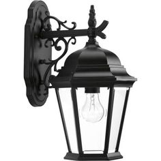 Hampton Bay Lumsden Outdoor Black LED Motion Sensor Wall Lantern Sconce - The Home Depot Outside Garage Lights, Black Lantern, Outdoor Wall Mounted Lighting, Motion Lights Outdoor, Garage Lighting, Black Walls, Wall Lantern, Lamps For Sale, Light Texture