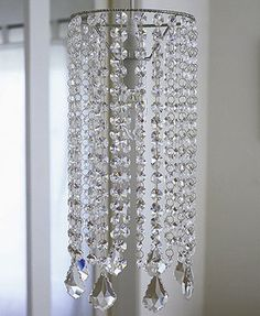 DIY Chandelier for my closet. Add extra layer by using wreath wire. - All For Decoration Glass Chandelier, Chandelier Lighting, Crystal Chandeliers, Nursery Chandelier, Painted Chandelier, Chandelier Shades, Diy Crystals, Crystal Beads, Beading Projects