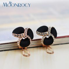 MOONROCY Free Shipping Fashion Jewelry Zirconia Rose Gold Color Austrian Crystal Earrings Black flower for Women gift