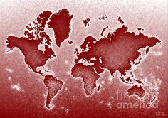 World Map Novo In Red by elevencorners. World map wall print decor. #elevencorners #mapnovo