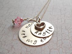 You Are My Sunshine with Birthstone - Personalized Hand Stamped Name Necklace -Sterling Silver V2. $39.00, via Etsy.