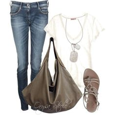 A fashion look from August 2012 featuring white collar shirt, loose fitting tops and boot-cut jeans. Browse and shop related looks. Casual Outfits, Cute Outfits, Fashion Outfits, Womens Fashion, Fashion Trends, Style Fashion, Fall Outfits, Fashion Ideas, Spring Summer Fashion
