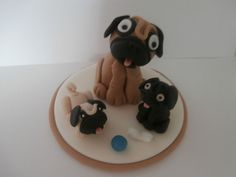 Pug and puppy's birthday cake topper sugar paste