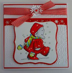 Christmas Lottie using Crafters Companion Humprey Corner stamps and coloured with copics