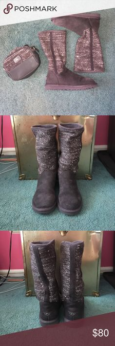 UGG Camaya Boot& Matching Bag Boots have been worn several times and have  small water/ salt stains on the tops of each boot. Other then that there's no rips or holes. They have sheepskin lined insoles. They're a Women's size 6, Kids size 4. The bag has been used a couple of times but still in good condition. No stains, rips or holes. Body of the bag is 9x6 with a 24 adjustable strap. The bag is half leather and half a glitter knitted material. Comes with a protective bag. UGG Shoes Winter…