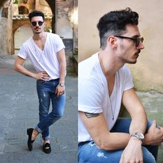 Urban Street Style, Distressed Skinny Jeans, White Tee, and Black Velvet-Embroidered Gold Crown Loafers, Men's Spring Summer Fashion.