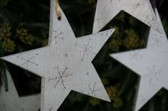 3 Christmas Stars, Personalised / Personalized Christmas decorations, wooden silver stars, rustic tree ornaments, engraved snowflakes