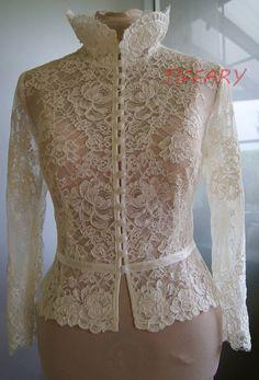 Items similar to Wedding bolero-top-jacket of lace,alencon, sleeves, . Unique, Exclusive Romantic bolero ANIL on Etsy