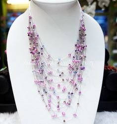 Freshwater pearl and crystal bead knitting on silk thread necklace