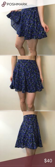After Party Nasty Gal Blue Floral Printed Skirt After Party Skirt skater style and is a blue violet floral print and a zipper closure!! Like new worn a few times Nasty Gal Skirts Mini