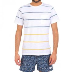 WHITE COTTON T-SHIRT WITH CHEST POCKET AND MULTICOLOR STRIPES - Solid white scoop neck cotton T-shirt with contrast yellow and blue stripes and chest pocket.  #mrbeachwear #stripes #summer #fashion #men #style #boardshort #sun #onlineshop #2014 #saturdayssurf #tshirt