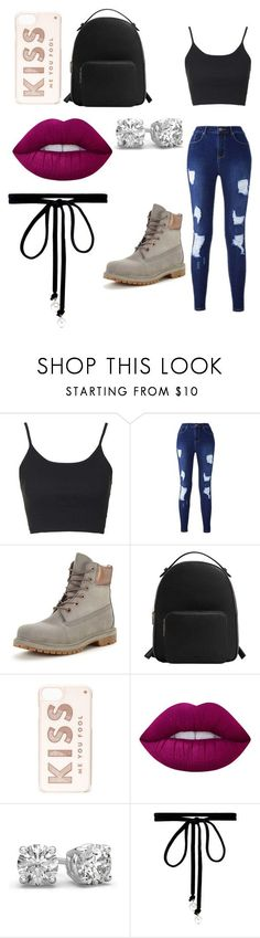 """""""Summer Babe"""" by maybeoliviaxox ❤ liked on Polyvore featuring Topshop, Timberland, MANGO, Kate Spade, Lime Crime and Joomi Lim"""