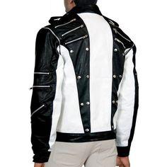Dewuchi MJ Pepsi Black White Michael Jackson Leather Jacket ($135) ❤ liked on Polyvore featuring outerwear, jackets, leather jackets, real leather jackets, black and white leather jacket, white and black leather jacket and black white jacket