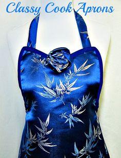 Apron BLUE BAMBOO Brocade Satin, Haute COUTURE Noir, Elegant Evening Hostess, Party Unique Gift. $48.50, via Etsy.