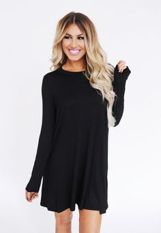 Solid Long Sleeve Cut Out Dress- Black - Dottie Couture Boutique