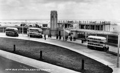The new bus station at Seaton Carew. The station and clock tower are now Grade II listed and were recently restored to their former glory. Old Pictures, Old Photos, Abc Cinema, New Bus, Great North, Northern England, North East England, Middlesbrough, Summer Memories