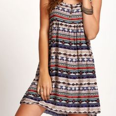 """END OF SUMMER SALE Aztec Print, spaghetti straps, button detail on front, multi-colored,mini dress. Great for vacation!  Length: 36"""". Bust: up to 34.64. One size fits XS to Medium. **New in package** Boutique Dresses Mini"""