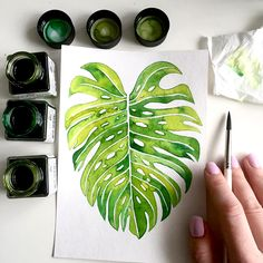 Showcase and discover creative work on the world's leading online platform for creative industries. Watercolor Leaves, Watercolor Paintings, Watercolor Illustration, Watercolour, Plant Painting, Plant Art, Leaf Wall Art, Leaf Art, Tropical Art