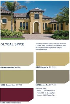 Rich, saturated jewel tones offer a lush, romantic vibe that is balanced by earthy, warm neutrals in the HGTV HOME™ by Sherwin-Williams Global Spice Collection Exterior Paint Color Combinations, Exterior Paint Colors For House, Paint Colors For Home, Exterior Colors, Colour Schemes, Stucco Exterior, Stucco Homes, Stucco Paint, Stucco Colors