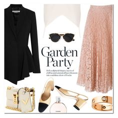 """""""The Lace Skirt"""" by stellaasteria ❤ liked on Polyvore featuring Chanel, Givenchy, Raey, Valentino, Christian Dior and Cartier"""