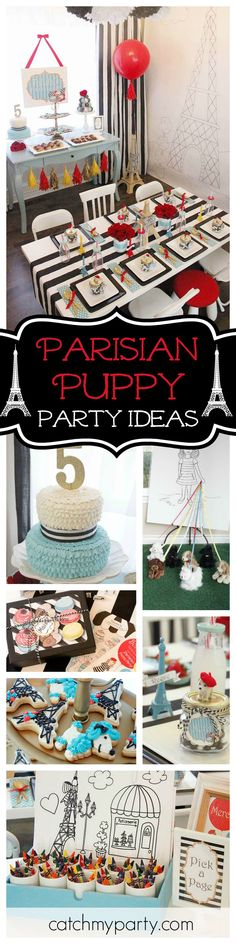 Take a look at this adorable Parisian puppy birthday party! The table settings are so chic!! Love the party favors!! See more party ideas and share yours at CatchMyParty.com