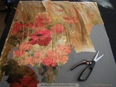Having begun a mock-up of Field Poppies for the photographer for LandScape Magazine it seemed crazy not to continue so, out of season as it is, here a new collage of Field Poppies and Barley taking shape on the table.