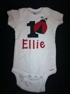 1st Birthday Ladybug outfit personalized by PetiteBabyBoutique