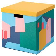 קופסת אחסון עם מכסה TJENA Storage Boxes With Lids, Cube Storage, Small Storage, Storage Baskets, Kids Storage Furniture, Nursery Furniture, Kallax Shelf Unit, Recycling Process, Waste Paper
