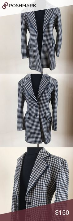 """PERFECT ESCADA LONG WOOL BLAZER Beautiful in new condition long, fully lined  blazer from ESCADA by Margaretha Ley. 96% wool and 4% silk. Beautiful layered lapel, 2 button front and 2 flap pockets at hips. Size 34 is a size 2-4 US. 20"""" under arms, 16"""" at narrowest waist, 32"""" overall length and 23""""'arm length. Escada Jackets & Coats Blazers"""