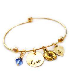 This Goldtone & Swarovski Crystal 'Love' Initial Bracelet is perfect! #zulilyfinds
