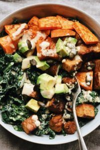 Kale and tempeh salad with maple tahini dressing