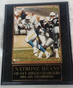 Sport 1994 Natrone Means AFC Photo Plaque San Diego Charger collectible art…