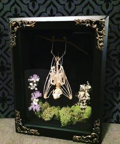 Hanging Fruit Bat Forest Shadow Box, Taxidermy, Real Bat Skeleton, Victorian, Memento Mori, Gothic, Forest, Moss, Lichen, Oddity by beyondthedarkveil on Etsy https://www.etsy.com/ca/listing/467568705/hanging-fruit-bat-forest-shadow-box