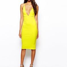 Yellow Bodycon Plunge Dress