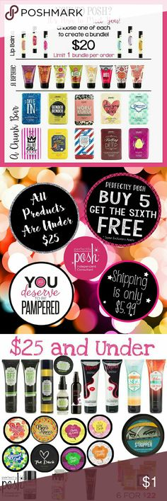 Perfectly Posh Naturally based pampering products. Cruelty free, sulfate & paraben free! Everything is $25 or less and buy 5 get 1 free! A little something for everyone and everything! From damaged hair, dry skin, dads shave gel and after shave and manly chunks, acne prone teeangers, or new babies there's something in her for you!  Visit my website to see everything posh offers! You deserve to be pampered! Other