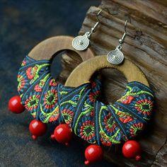 Handmade Big Wooden Earrings