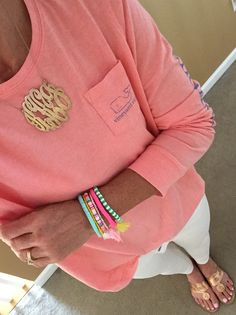 Fashion Over 40:  Vineyard Vines shirt, Loft jeans, Jack Rogers sandals, Monogram Necklace, Purple Peridot Bracelet stack