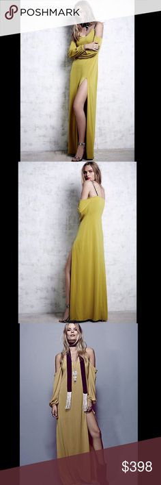 Free People Saunder stretch Off The Shoulder S Free People Saunder mustard chartreuse stretch crepe Off The Shoulder Maxi Dress Gown Statement off-the-shoulder maxi with black patent leather straps.  Gathered cuffs with pearly button closures, and a daring side slit.  Features mini underskirt lining. American made.  New Without Tags  *  Size:  Small retail price:  $498.00  95% poly * 5% spandex   Measurements for Small:  Bust: 32 in = 81 1/4 cm  Waist: 30 in = 76 1/4 cm  Length: 55 in = 139…