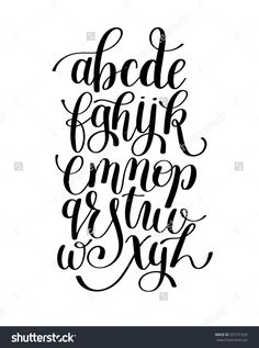Black And White Hand Lettering Alphabet Design, Handwritten Brush Script Modern Calligraphy Cursive Font Vector Illustration - 525791626 : Shutterstock