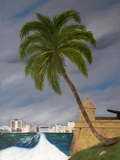 """Oil painting titled """"Habana Harbor from El Morro Fortress"""", done on a 16"""" x 20"""" x 1.5"""" canvas. Frame not required, painted image wraps around. Available at www.etsy.com/shop/apaintedcanvas"""