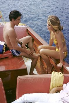 Alain Delon and Jane Fonda on a boat off Cape Riva Martin on the French Riviera where they are to film René Clément's 'Les Félins', photo by Francois Pages, 1963, | Flickr - Photo Sharing!