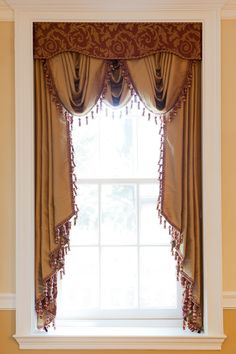 3 SCOOP VALANCES 2 LONG JABOTS UNDER FABRIC CORNICE