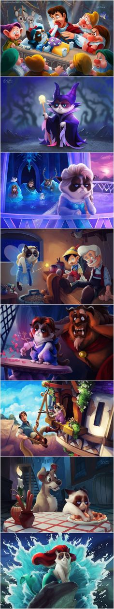 Funny pictures about Grumpy Cat in Disney Movies. Oh, and cool pics about Grumpy Cat in Disney Movies. Also, Grumpy Cat in Disney Movies. Disney Amor, Walt Disney, Cute Disney, Disney Magic, Humor Disney, Funny Disney Jokes, Funny Memes, Hilarious, Cat Memes