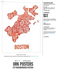 ORK Posters Boston map. WANT!!!!!!!