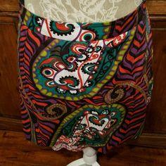 HTF Anthropologie Odille Skirt Multi Color Cotton Layered Prints size 4 #Odille #ALine