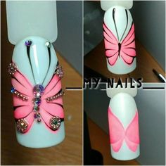 The cotton candy nail art is going strong and still holding on to the trend. If you are interested in cotton candy nails. New Nail Art, Nail Art Diy, Diy Nails, Cute Nails, Pretty Nails, Butterfly Nail Art, Flower Nail Art, Butterfly Design, Jolie Nail Art