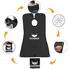 BEARDMAN - Hair Trimming Catcher Cape - The Improved Beard Apron with Strong Suction Cups for Mirror - Wooden Beard Comb Included - Best Gifts Idea for Him Men Boyfriend Husband - Black Beard Apron, Thing 1, Catcher, Super Easy, Cape, Best Gifts, Boyfriend, Husband, Strong