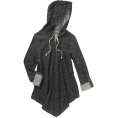 No Boundaries Juniors Rolled Tab Sleeve Hooded Flyaway Cardigan with Pullstrings