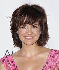 Carla Gugino Hairstyle: Formal Medium Wavy Hairstyle Styling Steps
